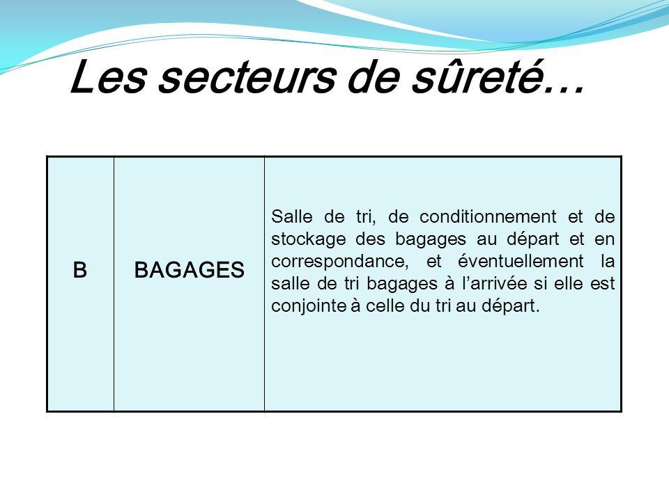 Les secteurs de sûreté… BBAGAGES Salle de tri, de conditionnement et de stockage des bagages au départ et en correspondance, et éventuellement la salle de tri bagages à larrivée si elle est conjointe à celle du tri au départ.