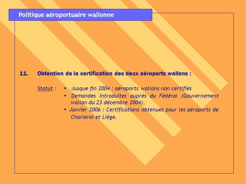 11.Obtention de la certification des deux aéroports wallons : Statut : Jusque fin 2004 : aéroports wallons non certifiés Demandes introduites auprès d