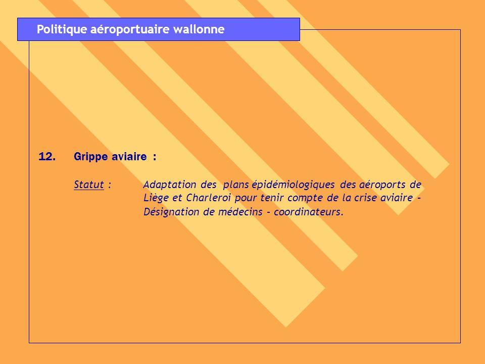 12.Grippe aviaire : Statut : Adaptation des plans épidémiologiques des aéroports de Liège et Charleroi pour tenir compte de la crise aviaire – Désigna