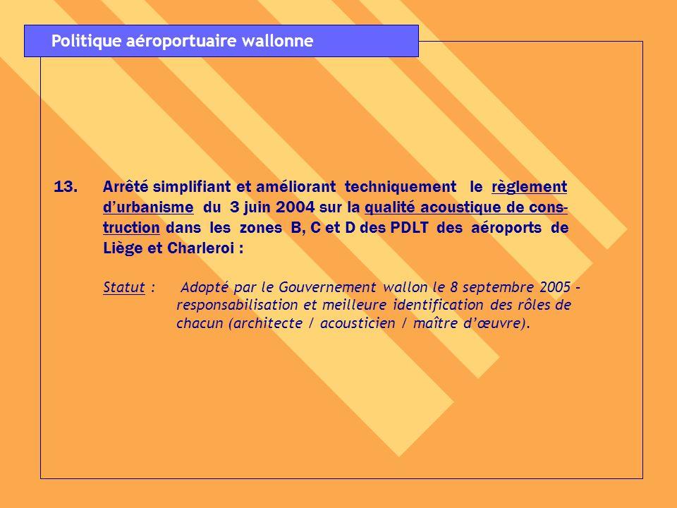 13.Arrêté simplifiant et améliorant techniquement le règlement durbanisme du 3 juin 2004 sur la qualité acoustique de cons- truction dans les zones B,