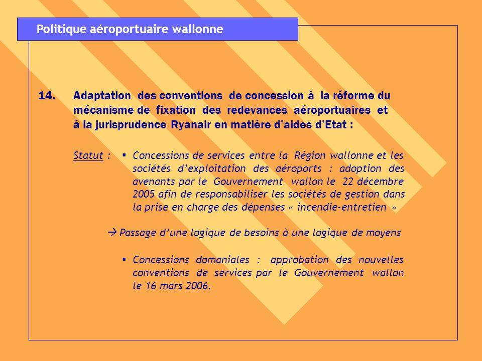 14.Adaptation des conventions de concession à la réforme du mécanisme de fixation des redevances aéroportuaires et à la jurisprudence Ryanair en matiè