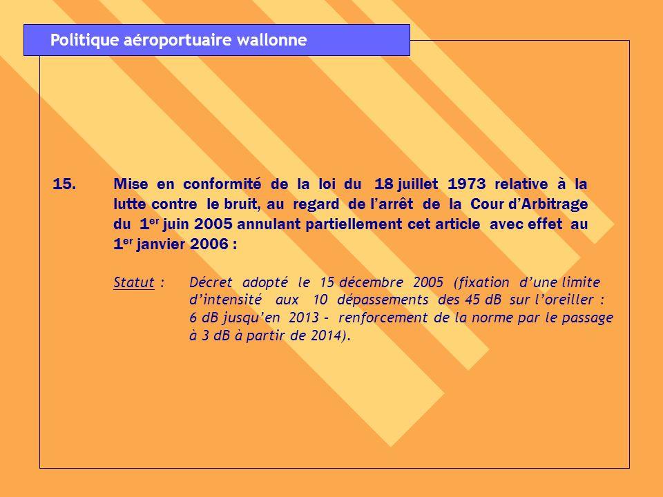 15. 15.Mise en conformité de la loi du 18 juillet 1973 relative à la lutte contre le bruit, au regard de larrêt de la Cour dArbitrage du 1 er juin 200