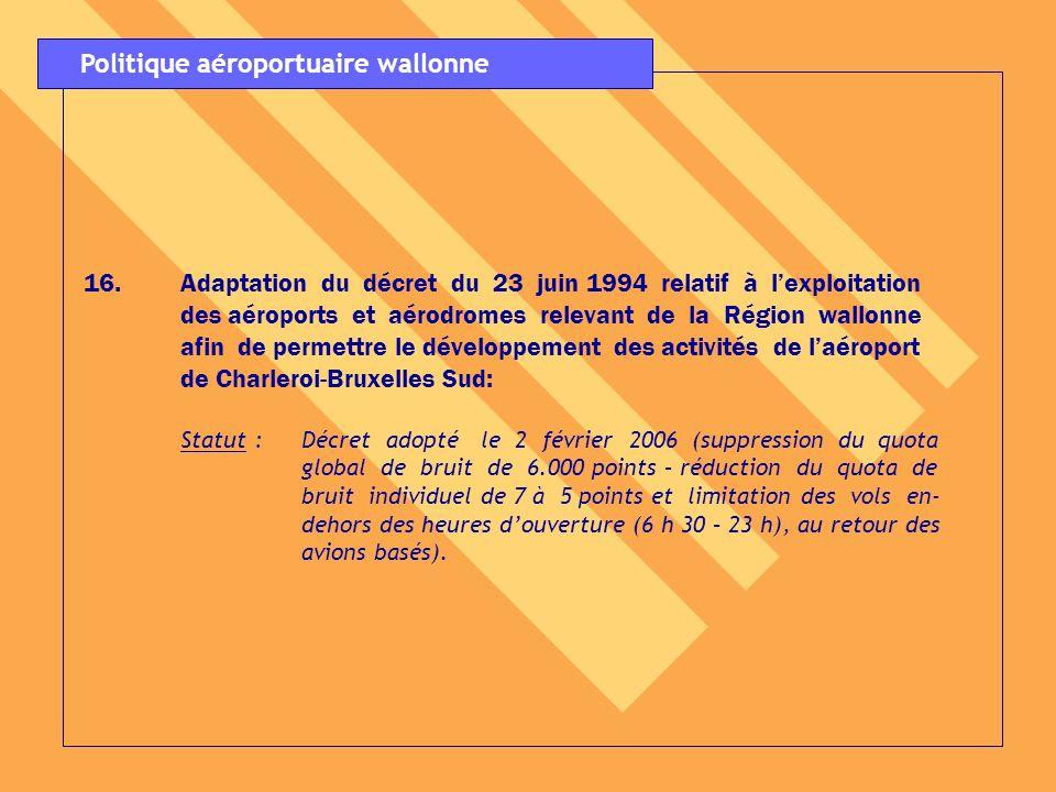 16. 16.Adaptation du décret du 23 juin 1994 relatif à lexploitation des aéroports et aérodromes relevant de la Région wallonne afin de permettre le dé