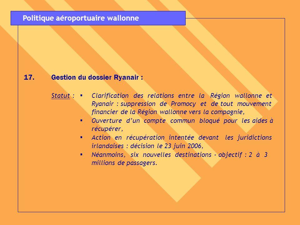 17. 17.Gestion du dossier Ryanair : Statut : Clarification des relations entre la Région wallonne et Ryanair : suppression de Promocy et de tout mouve