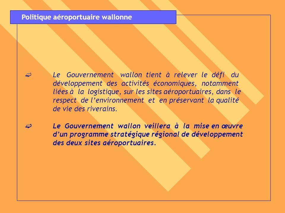 Le Gouvernement wallon tient à relever le défi du développement des activités économiques, notamment liées à la logistique, sur les sites aéroportuair