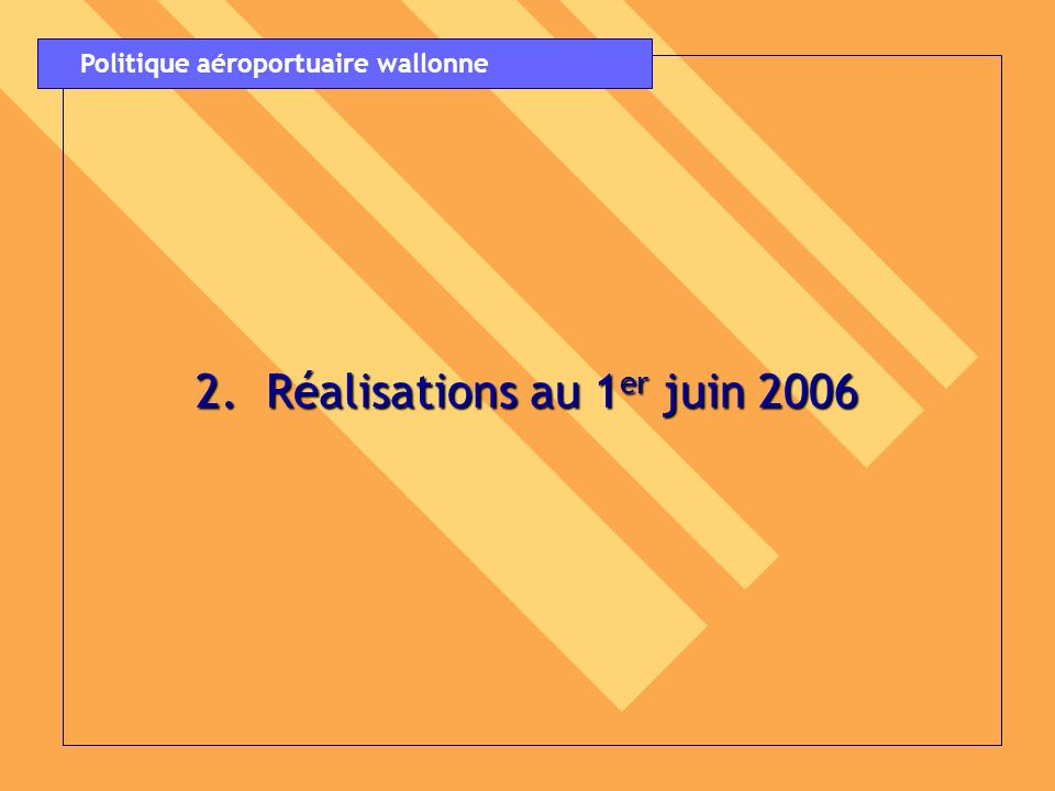 3.Étude stratégique globale du secteur aéroportuaire en Région secteur aéroportuaire en Région wallonne : wallonne : Conclusions des synthèses et lignes Conclusions des synthèses et lignes directrices adoptées par le Gouvernement wallon le 24 mai 2006 Gouvernement wallon le 24 mai 2006 Politique aéroportuaire wallonne