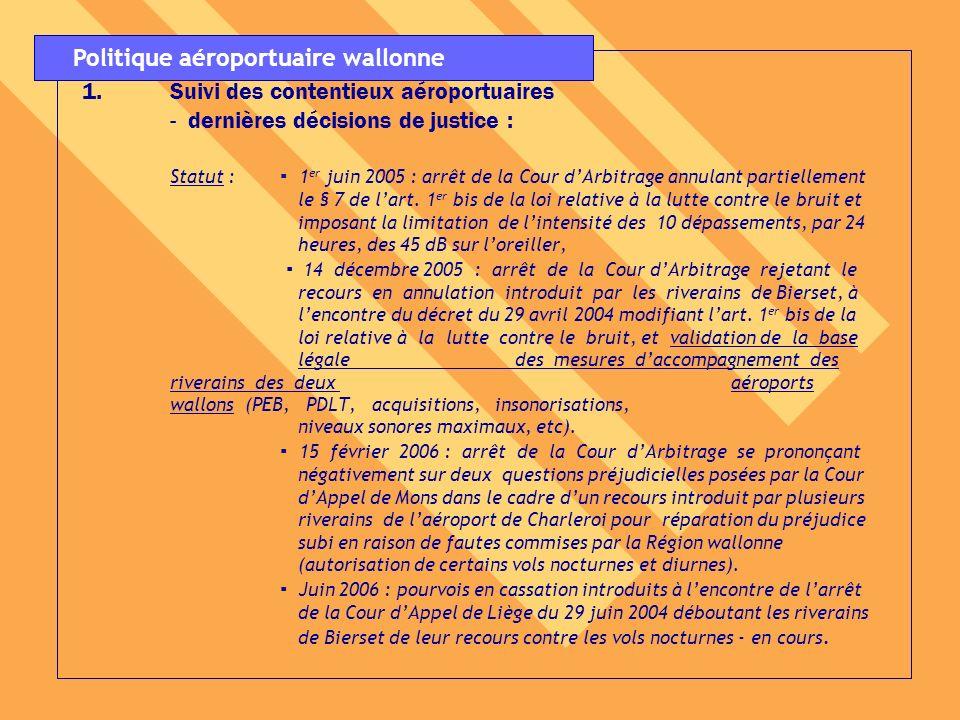 2.Mise en œuvre de laccélération des procédures dinsonorisation des habitations situées dans les zones des PEB des aéroports wallons : Statut : En cours dexécution suite à la décision du Gouver- nement wallon du 23 décembre 2004, Pour rappel, fin février 2004 : outre les chantiers tests, une dizaine de maisons insonorisées, Mai 2006 : 667 maisons insonorisées à Liège, 223 maisons insonorisées à Charleroi.