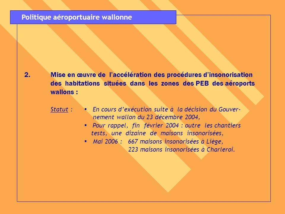 3.Présentation dune note au Gouvernement wallon sur la gestion du patrimoine immobilier autour des aéroports wallons (rachats, locations, … etc.) : Statut : Décision du Gouvernement wallon du 24 mars 2005, Mai 2006: 1.095 maisons acquises à Liège, 106 maisons acquises à Charleroi.