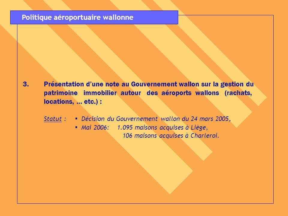 4.Autorité indépendante de contrôle et de suivi des nuisances aéroportuaires : Statut : Arrêté du Gouvernement wallon relatif au fonctionnement de lACNAW : adopté par le Gouvernement wallon le 12 mai 2005, Mise à disposition de membres du personnel du MET au profit dune cellule, créée au sein du MET, dassistance technique à lACNAW : décision du Gouvernement wallon du 17 mars 2005, Désignation des nouveaux membres de lACNAW : décision du Gouvernement wallon du 23 février 2006.