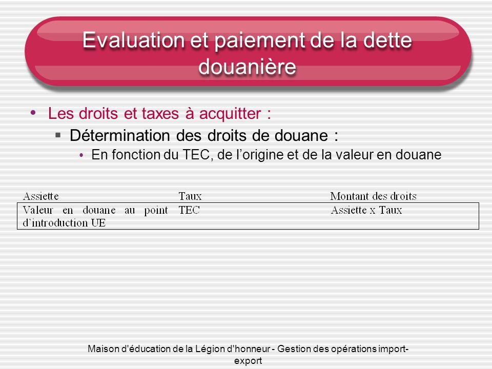 Maison d'éducation de la Légion d'honneur - Gestion des opérations import- export Evaluation et paiement de la dette douanière Les droits et taxes à a