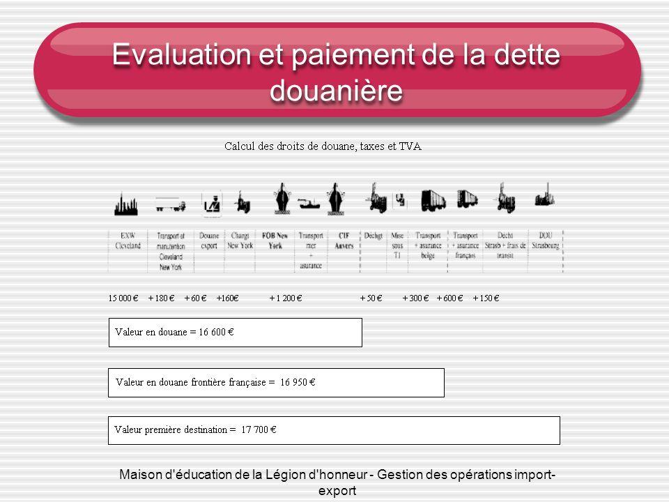 Maison d'éducation de la Légion d'honneur - Gestion des opérations import- export Evaluation et paiement de la dette douanière
