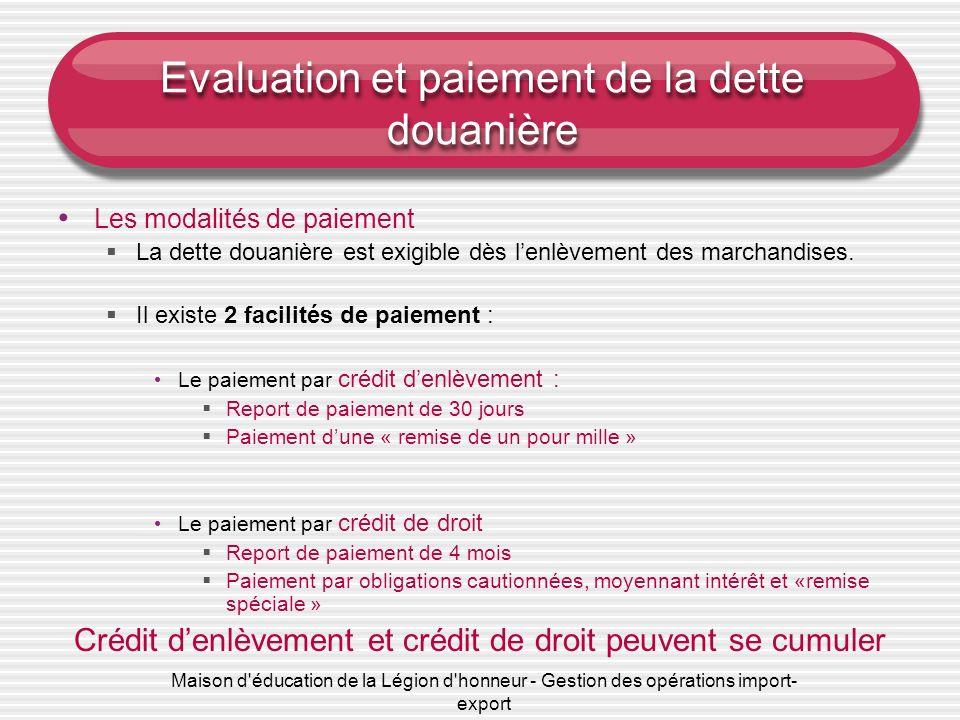 Maison d'éducation de la Légion d'honneur - Gestion des opérations import- export Evaluation et paiement de la dette douanière Les modalités de paieme