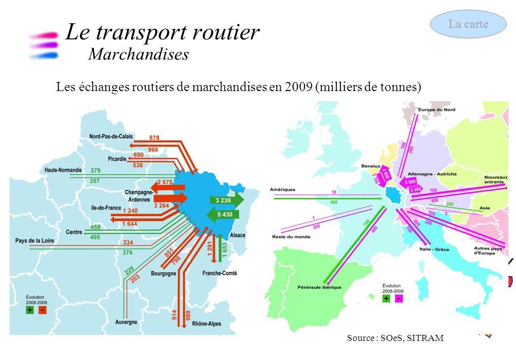 6 Les chiffres clés des transports 13 septembre 2011 Le transport ferroviaire Marchandises La carte Part du rail et du fluvial dans le transport intérieur de marchandises en 2008, hors transit Source : SOeS (C.