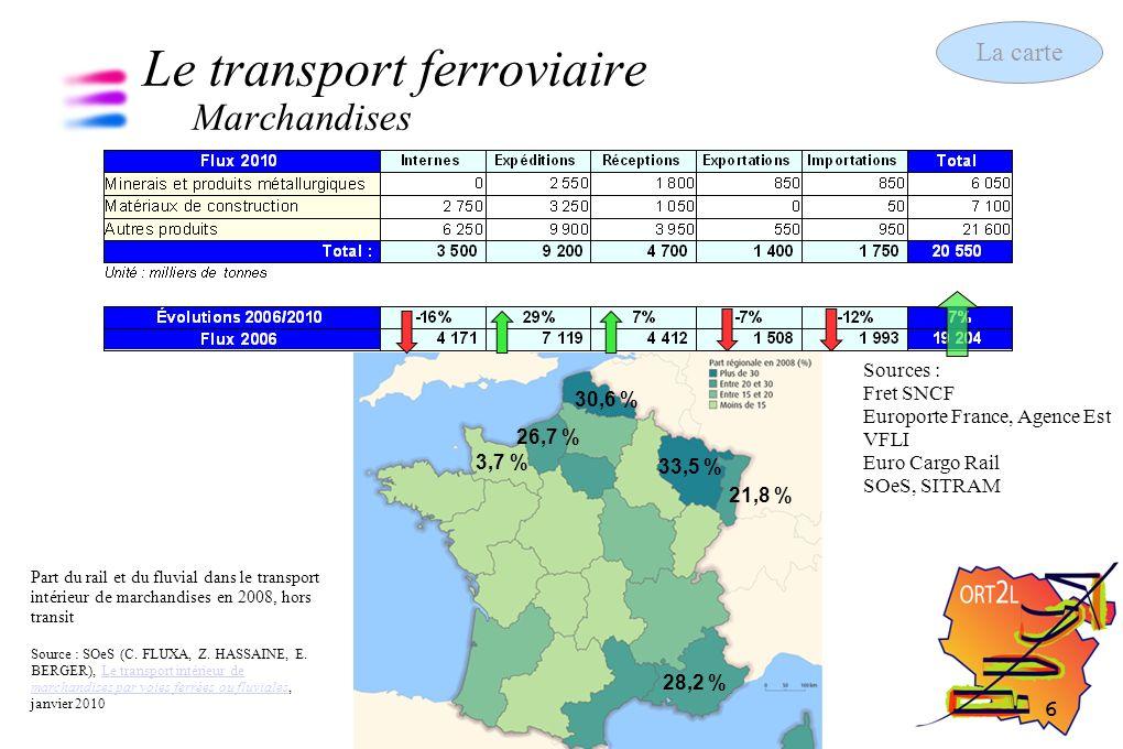 7 Les chiffres clés des transports 13 septembre 2011 Le transport ferroviaire Voyageurs Sources : SNCF SOeS, d après SNCF + 60 % + 37 % -1,1 % -1,5 % TER Métrolor Source : Conseil Régional +9,2% +10,8 % +12,4 % +14,4 % +1,9% +4% La carte