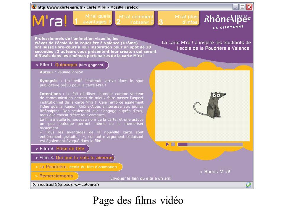 Page des films vidéo