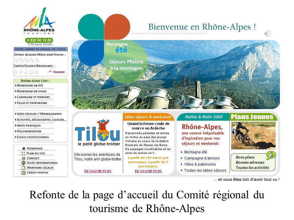 Refonte de la page daccueil du Comité régional du tourisme de Rhône-Alpes