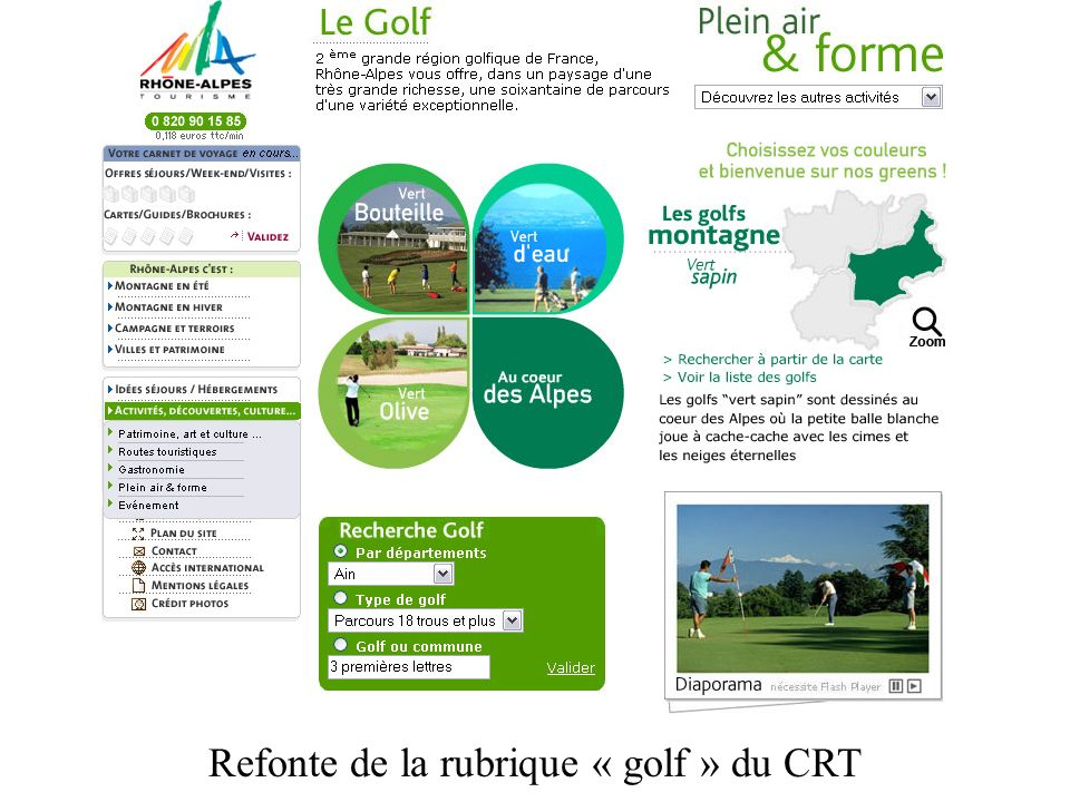 Refonte de la rubrique « golf » du CRT
