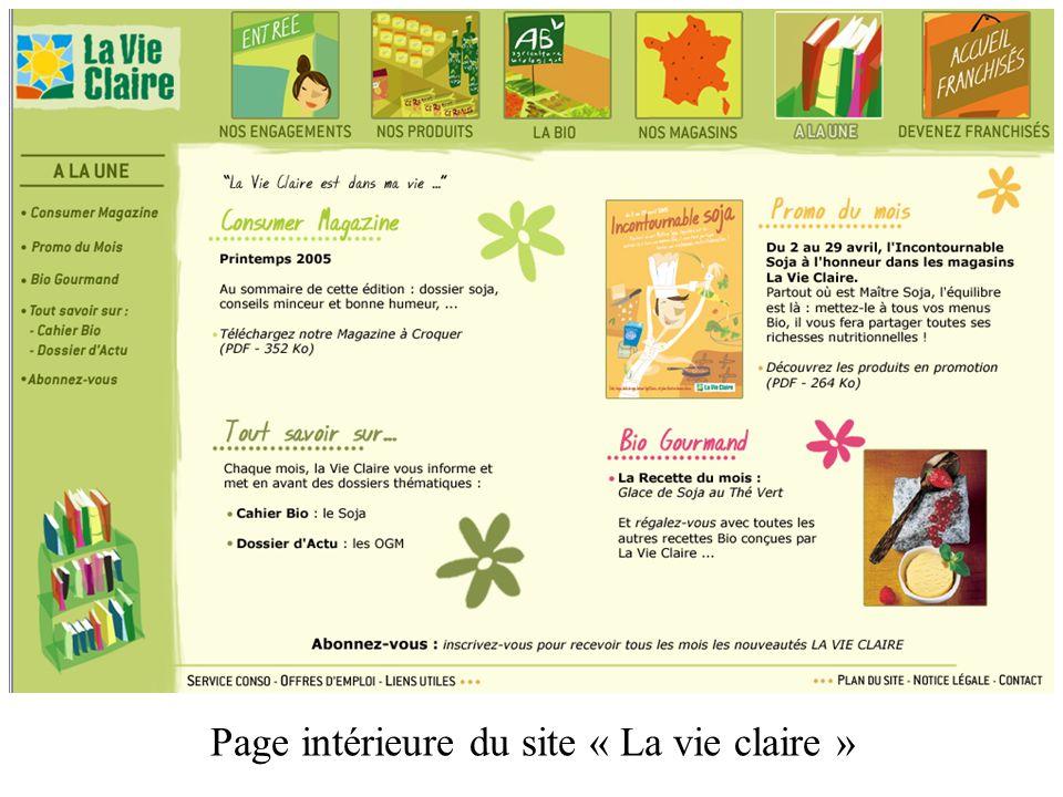 Page intérieure du site « La vie claire »
