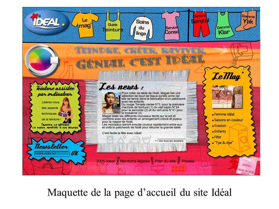 Maquette de la page daccueil du site Idéal