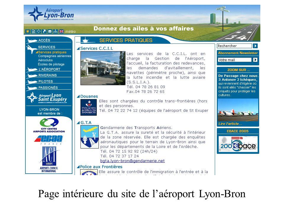 Page intérieure du site de laéroport Lyon-Bron