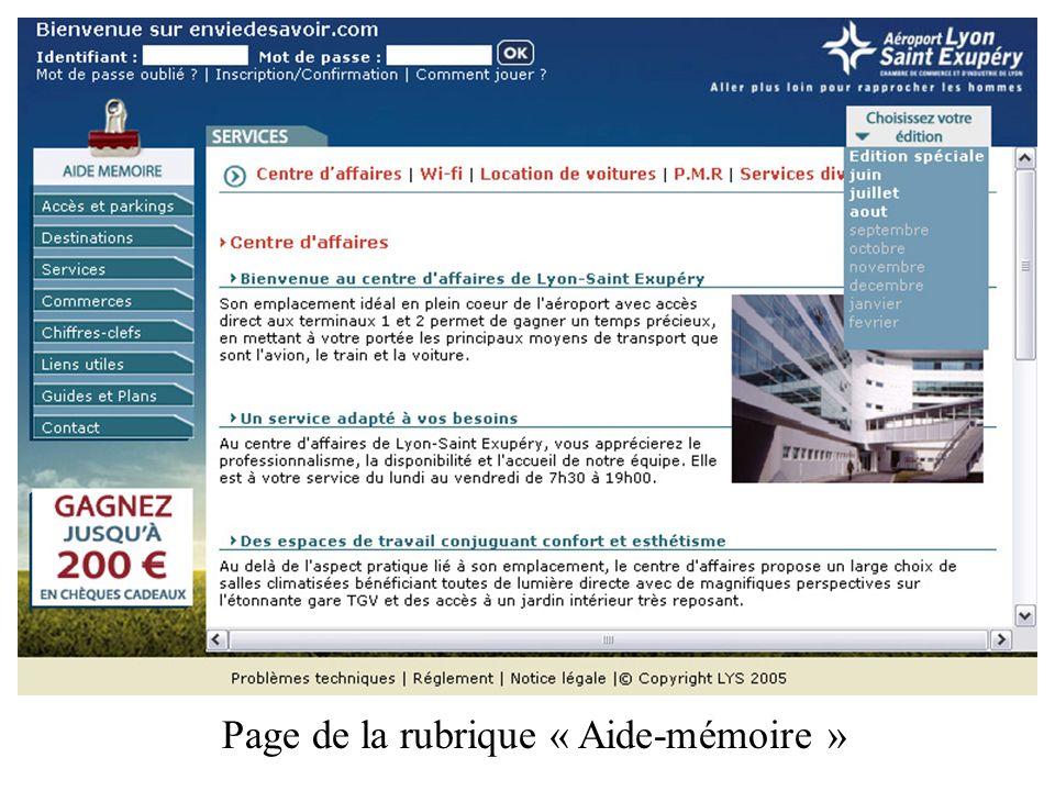 Page de la rubrique « Aide-mémoire »