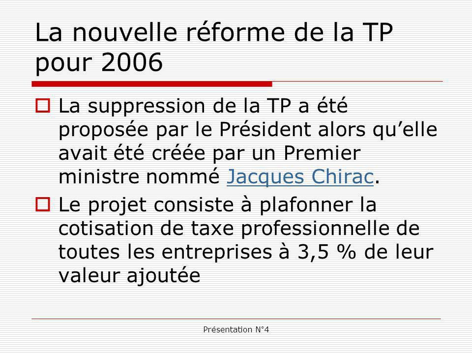 Présentation N°4 La nouvelle réforme de la TP pour 2006 La suppression de la TP a été proposée par le Président alors quelle avait été créée par un Premier ministre nommé Jacques Chirac.Jacques Chirac Le projet consiste à plafonner la cotisation de taxe professionnelle de toutes les entreprises à 3,5 % de leur valeur ajoutée