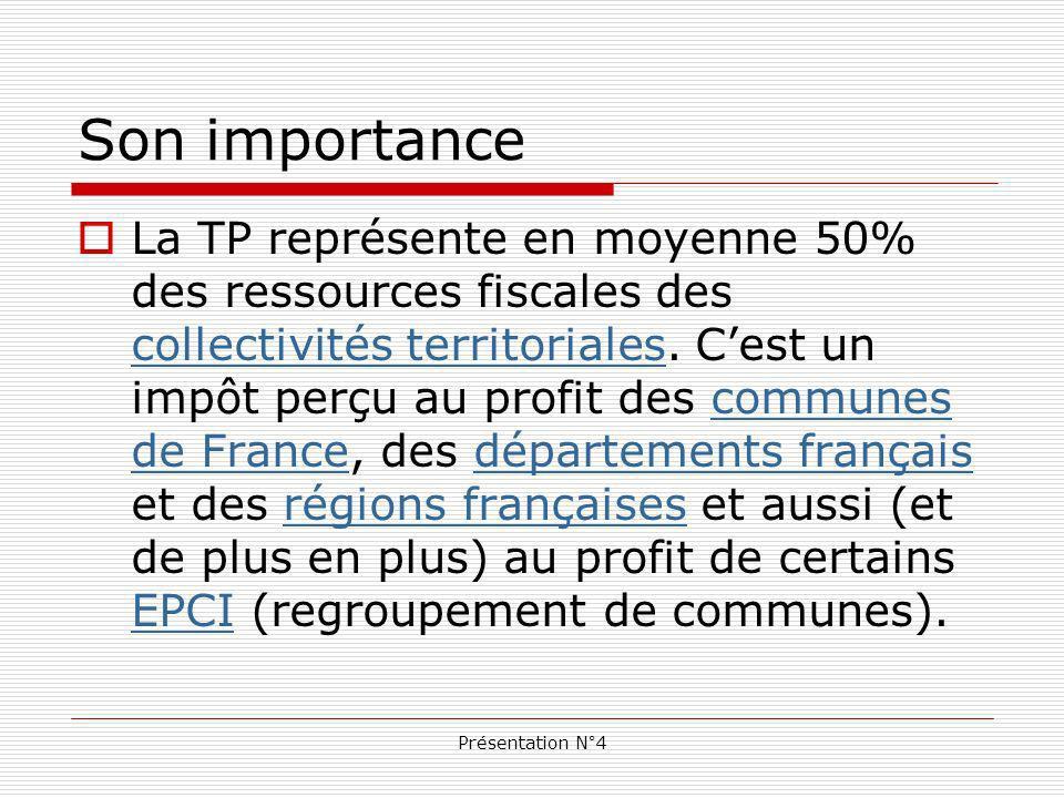 Présentation N°4 Son importance La TP représente en moyenne 50% des ressources fiscales des collectivités territoriales.