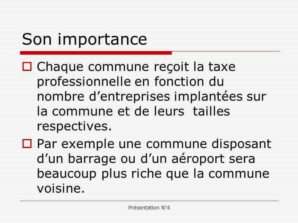 Présentation N°4 Son importance Chaque commune reçoit la taxe professionnelle en fonction du nombre dentreprises implantées sur la commune et de leurs tailles respectives.