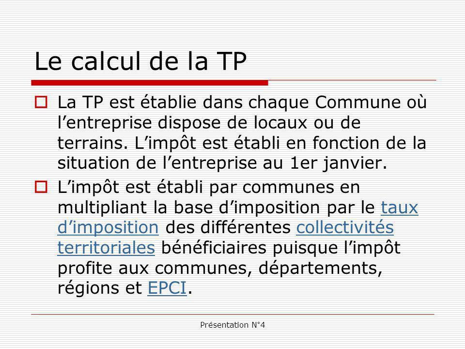 Présentation N°4 Le calcul de la TP La TP est établie dans chaque Commune où lentreprise dispose de locaux ou de terrains.