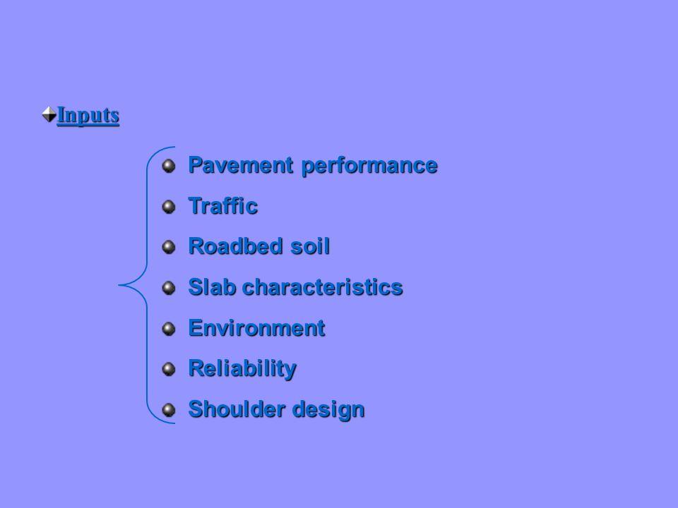 Inputs Pavement performance Pavement performance Traffic Traffic Roadbed soil Roadbed soil Slab characteristics Slab characteristics Environment Envir