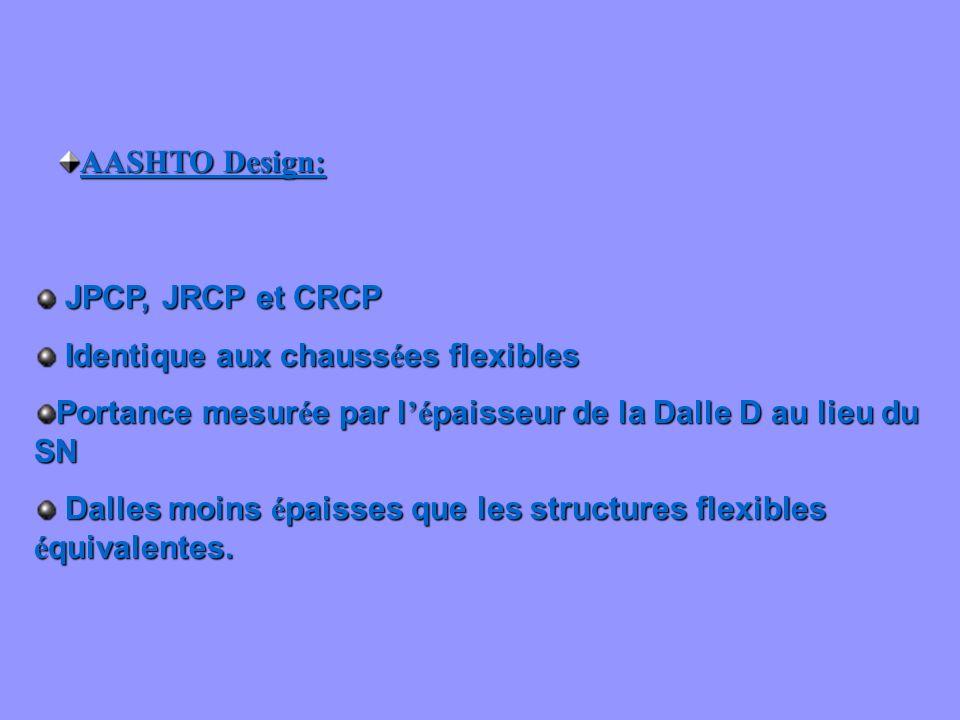 AASHTO Design: JPCP, JRCP et CRCP JPCP, JRCP et CRCP Identique aux chauss é es flexibles Identique aux chauss é es flexibles Portance mesur é e par l