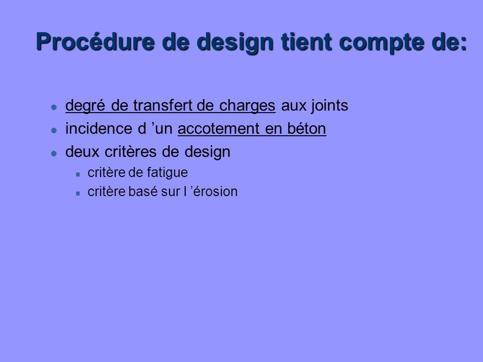 Procédure de design tient compte de: l degré de transfert de charges aux joints l incidence d un accotement en béton l deux critères de design n critè