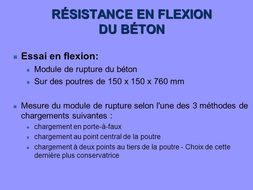 RÉSISTANCE EN FLEXION DU BÉTON n Essai en flexion: l Module de rupture du béton l Sur des poutres de 150 x 150 x 760 mm n Mesure du module de rupture