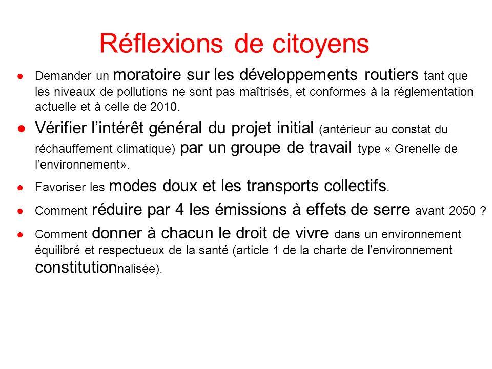 Réflexions de citoyens Demander un moratoire sur les développements routiers tant que les niveaux de pollutions ne sont pas maîtrisés, et conformes à la réglementation actuelle et à celle de 2010.