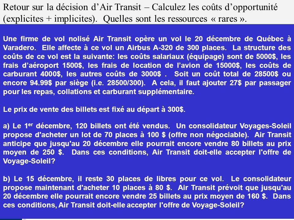 1-17 Retour sur la décision dAir Transit – Calculez les coûts dopportunité (explicites + implicites). Quelles sont les ressources « rares ». Une firme