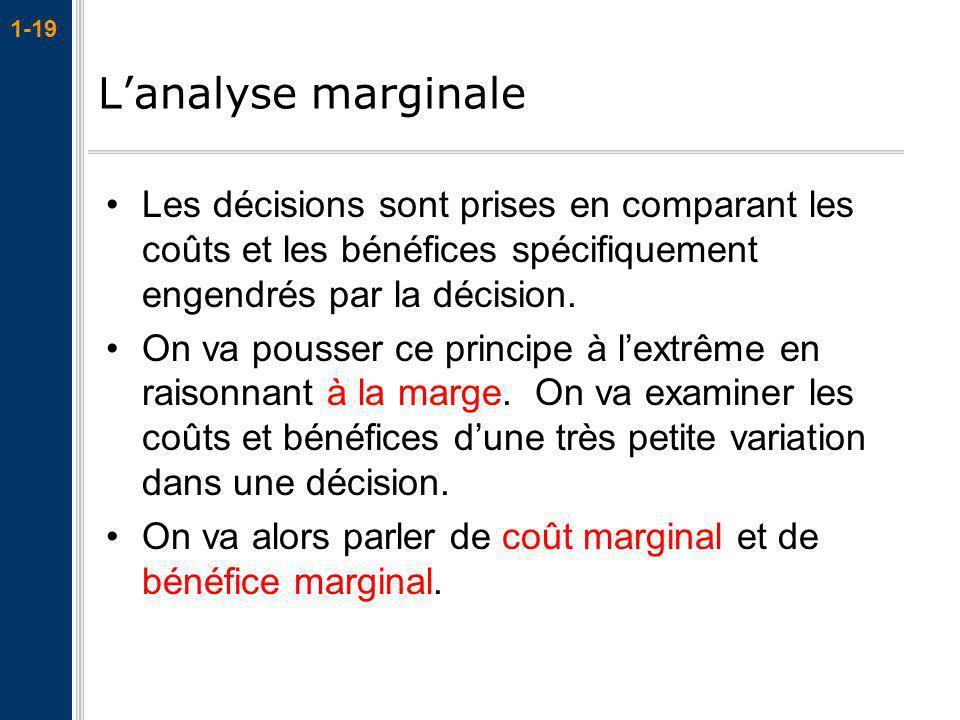 1-19 Lanalyse marginale Les décisions sont prises en comparant les coûts et les bénéfices spécifiquement engendrés par la décision. On va pousser ce p