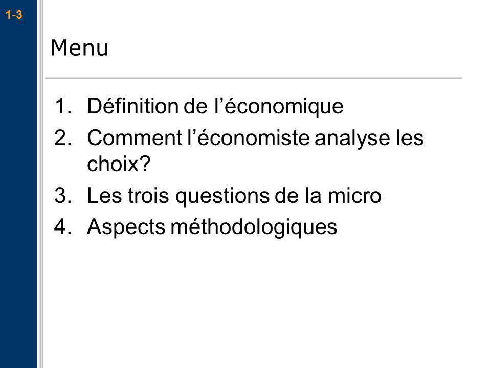 1-3 Menu 1.Définition de léconomique 2.Comment léconomiste analyse les choix? 3.Les trois questions de la micro 4.Aspects méthodologiques
