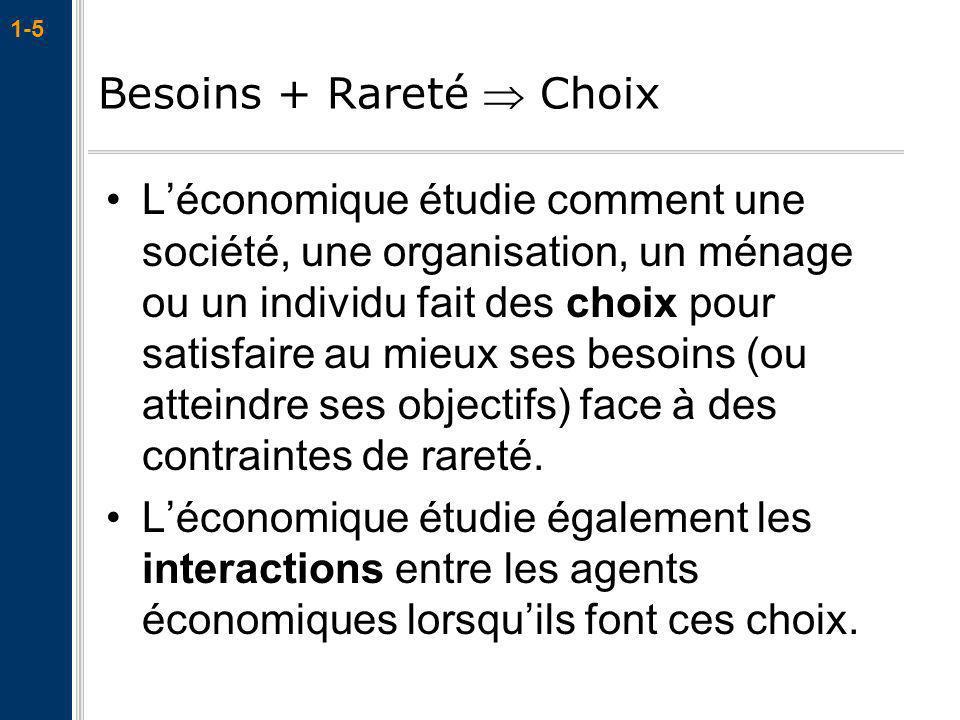 1-5 Léconomique étudie comment une société, une organisation, un ménage ou un individu fait des choix pour satisfaire au mieux ses besoins (ou atteind