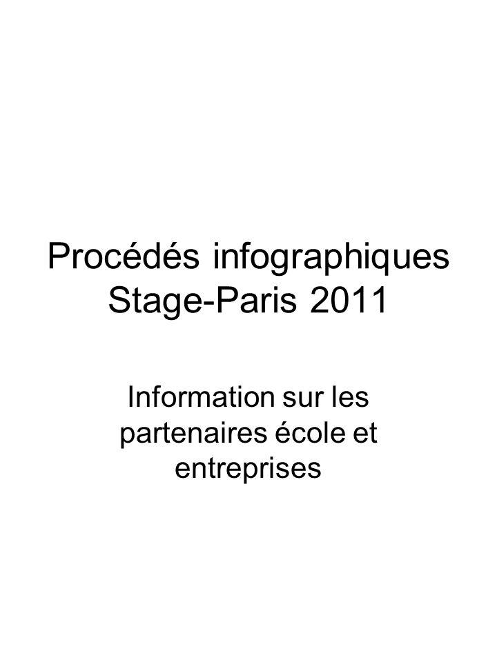 Procédés infographiques Stage-Paris 2011 Information sur les partenaires école et entreprises