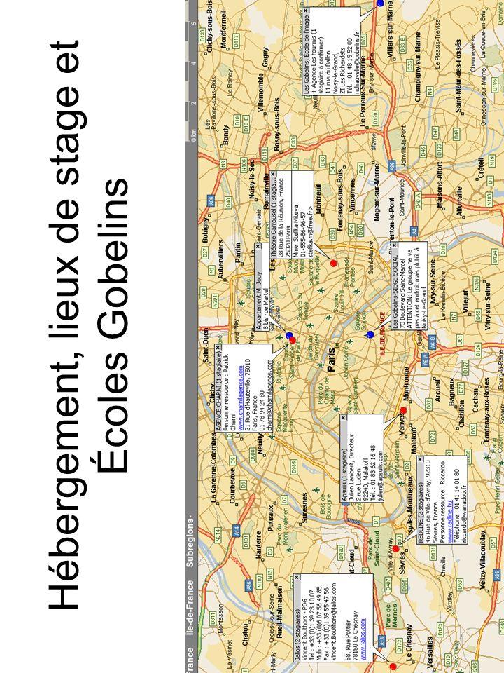 Hébergement, lieux de stage et Écoles Gobelins