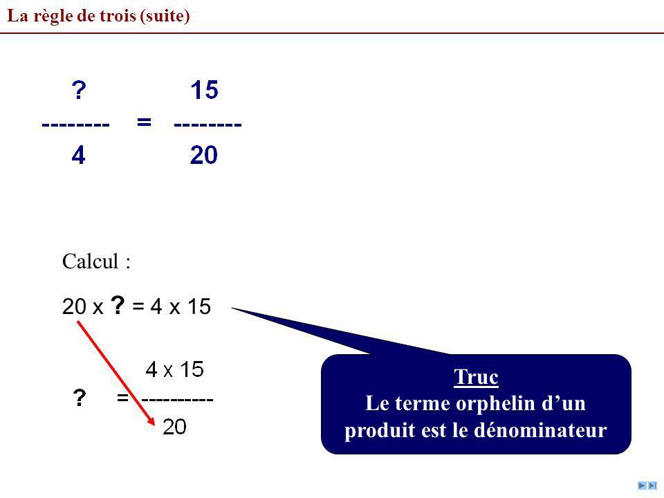 La règle de trois (suite) Calcul : 20 x ? = 4 x 15 Truc Le terme orphelin dun produit est le dénominateur