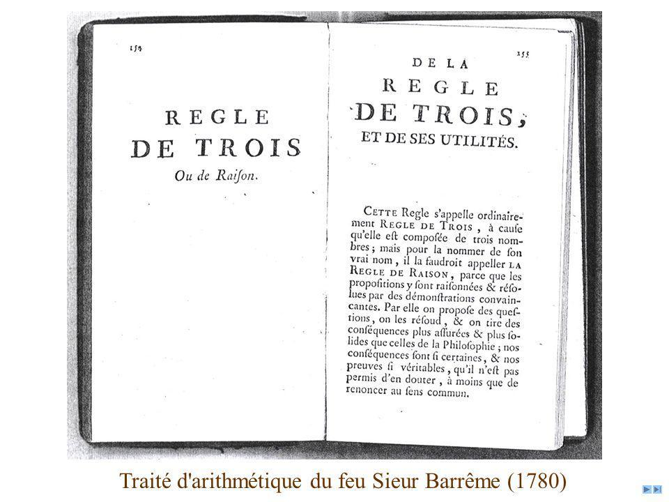 Traité d'arithmétique du feu Sieur Barrême (1780)