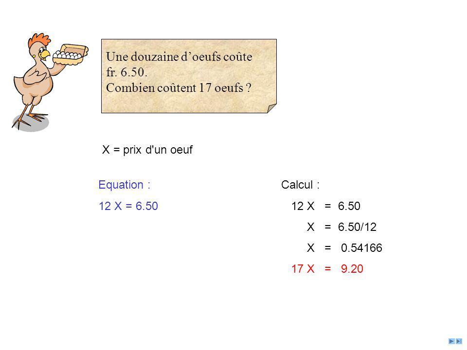 X = prix d'un oeuf Equation : 12 X = 6.50 Calcul : 12 X = 6.50 X = 6.50/12 X = 0.54166 17 X = 9.20 Une douzaine doeufs coûte fr. 6.50. Combien coûtent