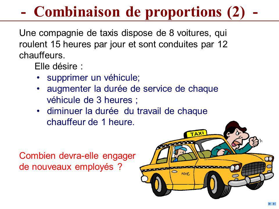 - Combinaison de proportions (2) - Une compagnie de taxis dispose de 8 voitures, qui roulent 15 heures par jour et sont conduites par 12 chauffeurs. E