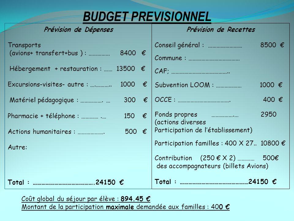BUDGET PREVISIONNEL Prévision de Dépenses Transports (avions+ transfert+bus ) : …………… 8400 Hébergement + restauration : …… 13500 Excursions-visites- a
