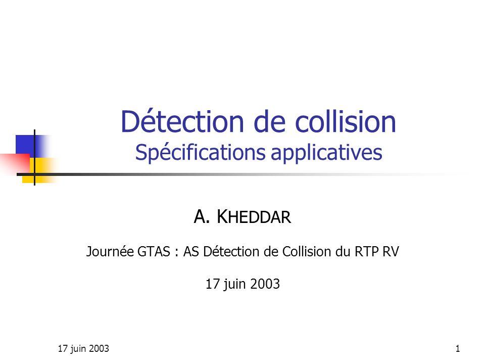 17 juin 20031 Détection de collision Spécifications applicatives A. K HEDDAR Journée GTAS : AS Détection de Collision du RTP RV 17 juin 2003