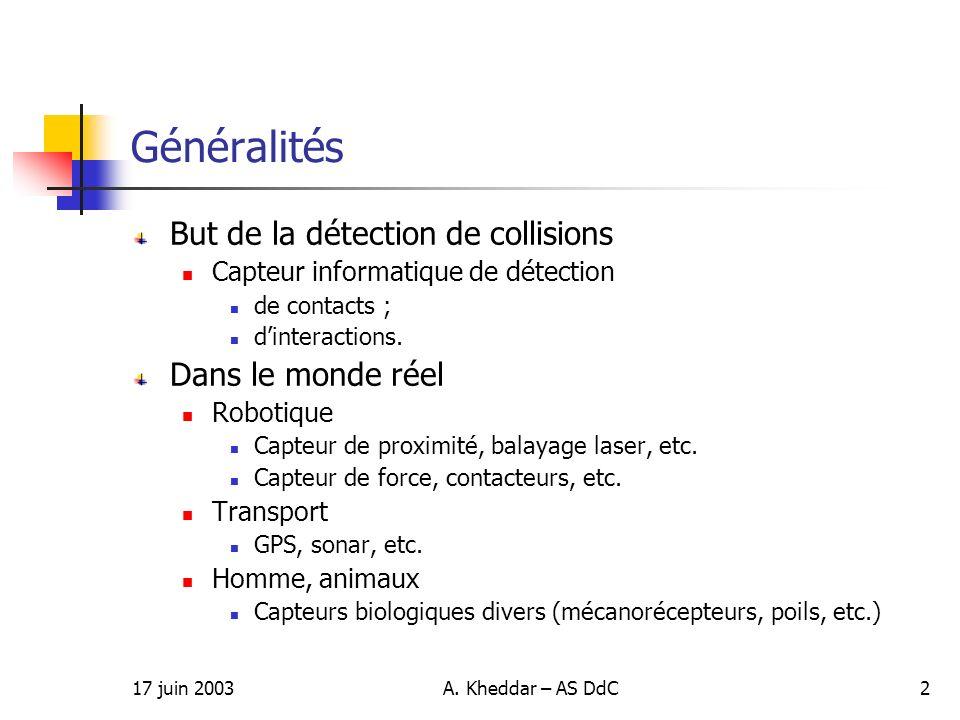 A. Kheddar – AS DdC2 Généralités But de la détection de collisions Capteur informatique de détection de contacts ; dinteractions. Dans le monde réel R