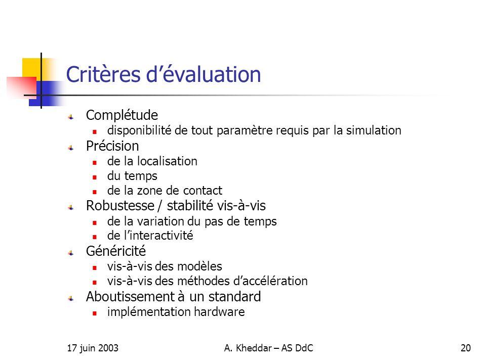 17 juin 2003A. Kheddar – AS DdC20 Critères dévaluation Complétude disponibilité de tout paramètre requis par la simulation Précision de la localisatio