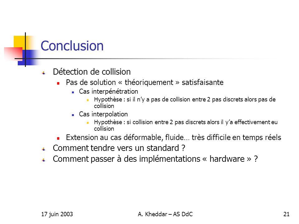 17 juin 2003A. Kheddar – AS DdC21 Conclusion Détection de collision Pas de solution « théoriquement » satisfaisante Cas interpénétration Hypothèse : s