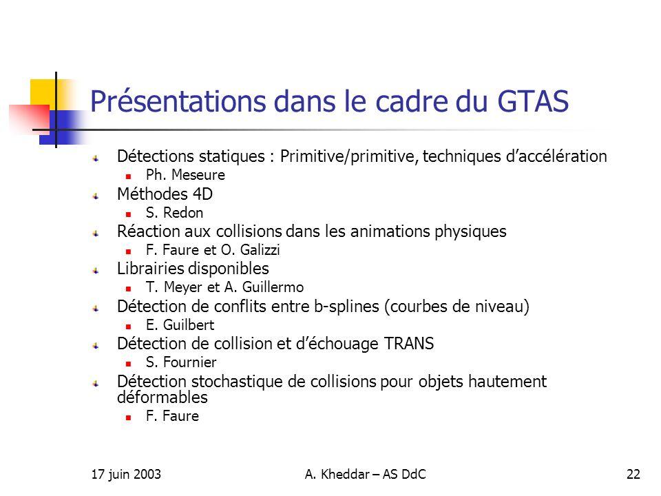 17 juin 2003A. Kheddar – AS DdC22 Présentations dans le cadre du GTAS Détections statiques : Primitive/primitive, techniques daccélération Ph. Meseure
